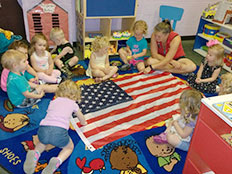 2-Year-Old Room - kids and the american flag