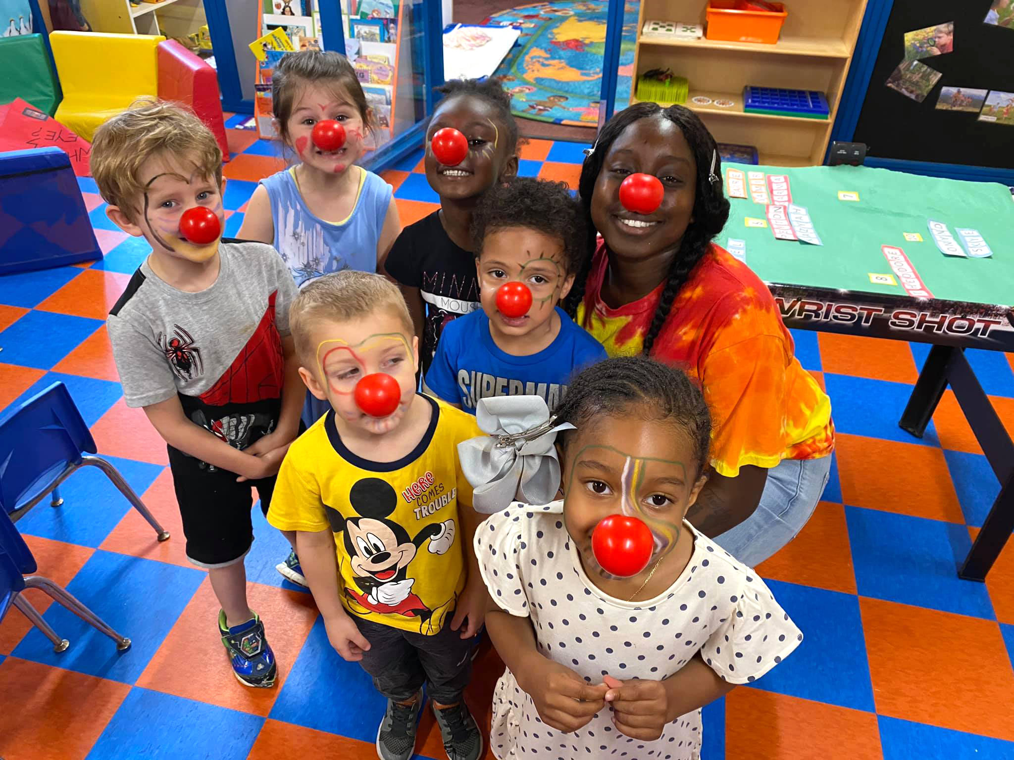Children with red clown nose at Robin's Nest Learning Center in Carbondale, Illinois