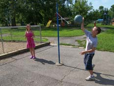 Playing tether ball